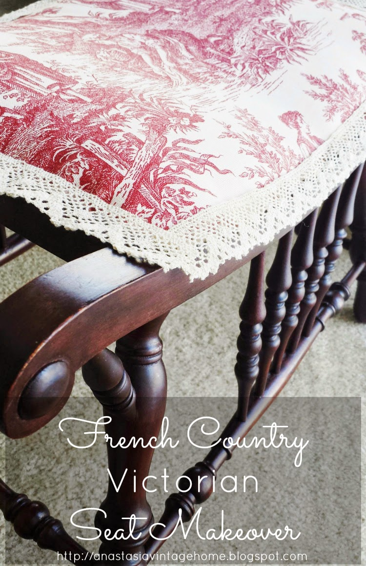 French Country Victorian Seat Makeover | Anastasia Vintage
