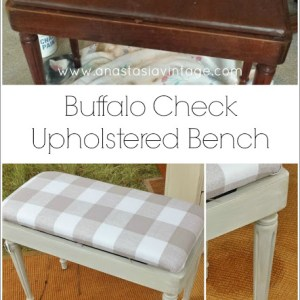 Buffalo Check Upholstered Bench {Thrift Benefit for Sheltered Animals}