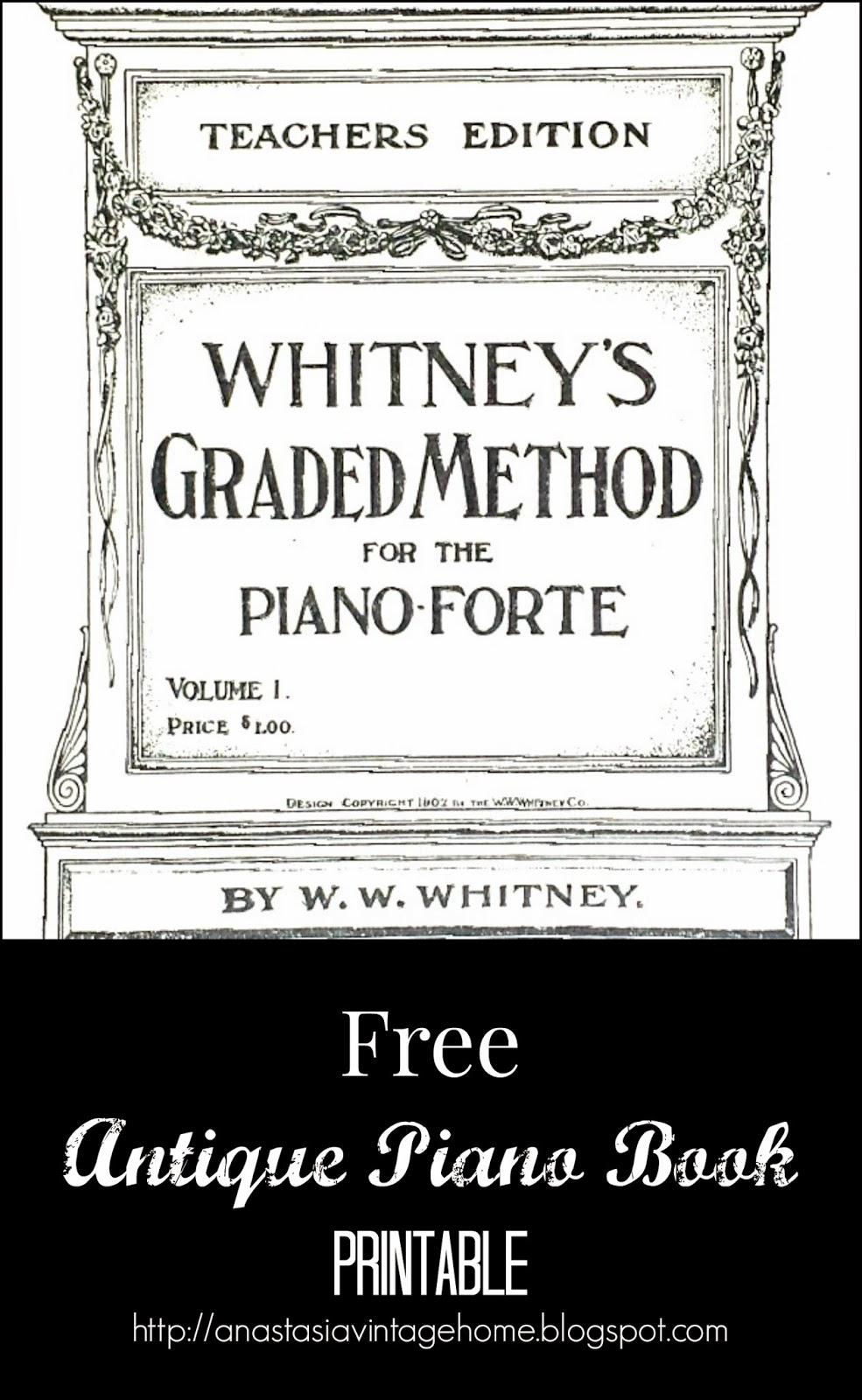 Free Antique Piano Book Printable | Anastasia Vintage