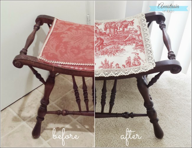 antique mahogany Victorian seat before and after stain red toile reupholstery