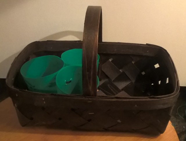 Disposable Gift Basket into an Attractive Utensil Caddy