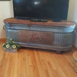 Old Cattle Water Trough Recycled into a TV Stand