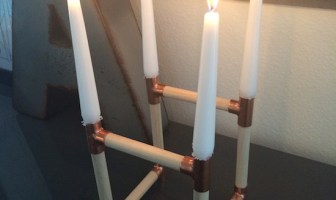 Copper and Wood Candle Holder