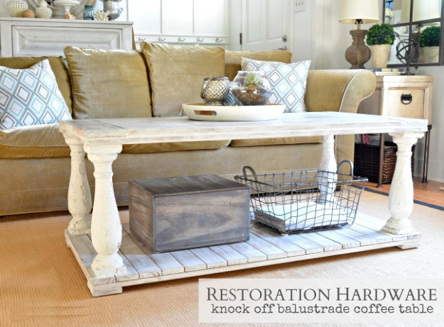 How to make a Restoration Hardware knock-off balustrade coffee table