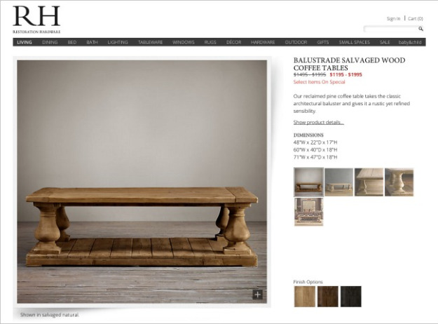 Inspiration picture RH balustrade salvaged wood coffee table