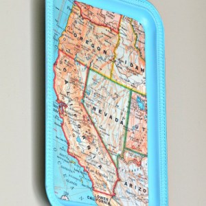 Decoupaged Magnetic Map Tray