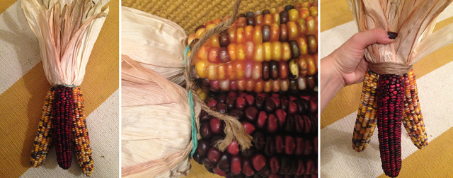 DIY Indian Corn Swag Tied Together