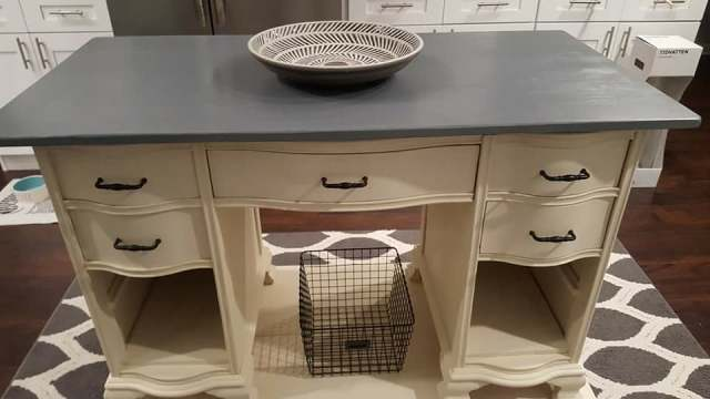 Old Desk Turned Kitchen Island
