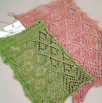 Pattern swatches used in the designing of Rosemarie's Garden Shawl.