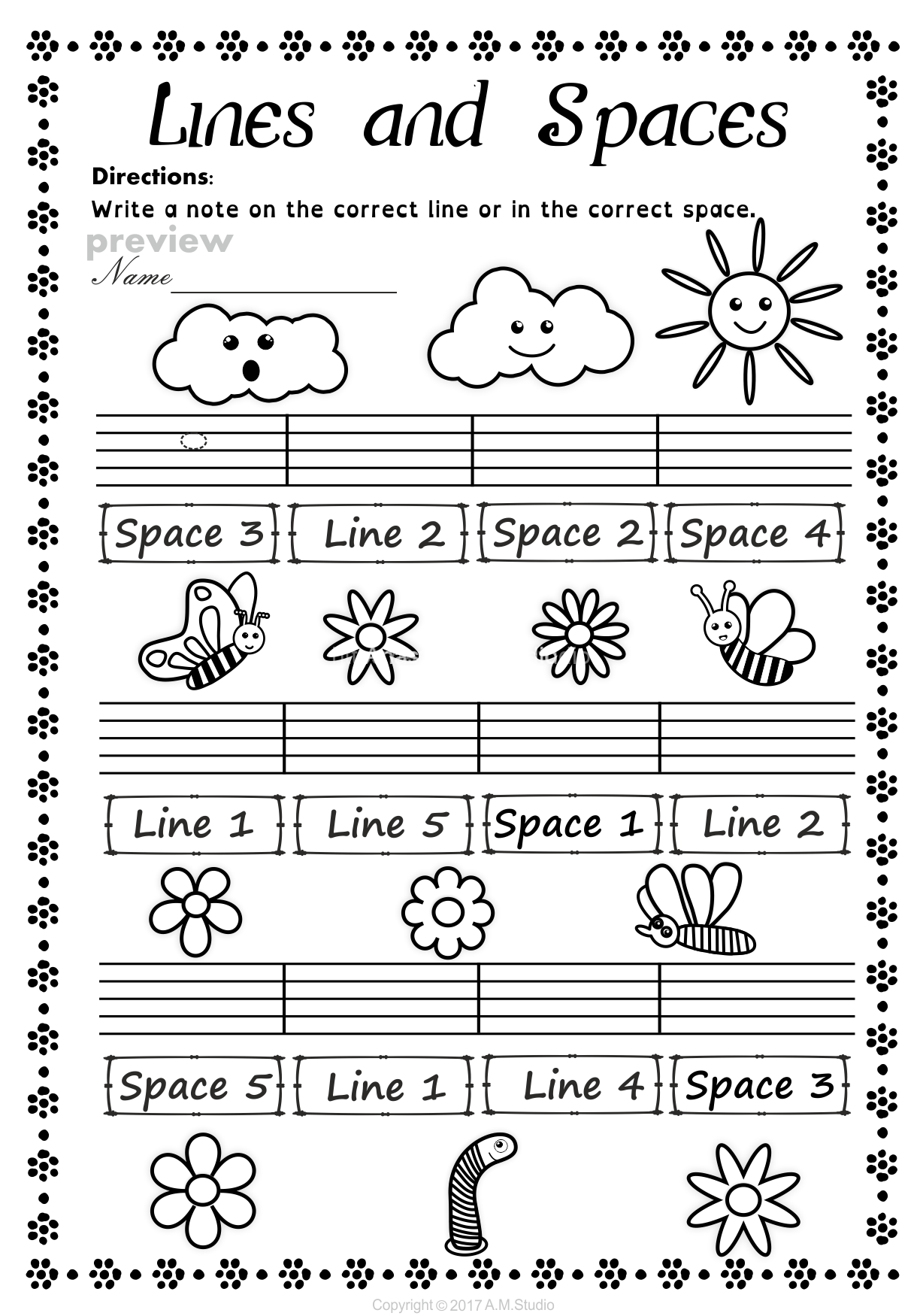 Lines And Spaces Worksheet