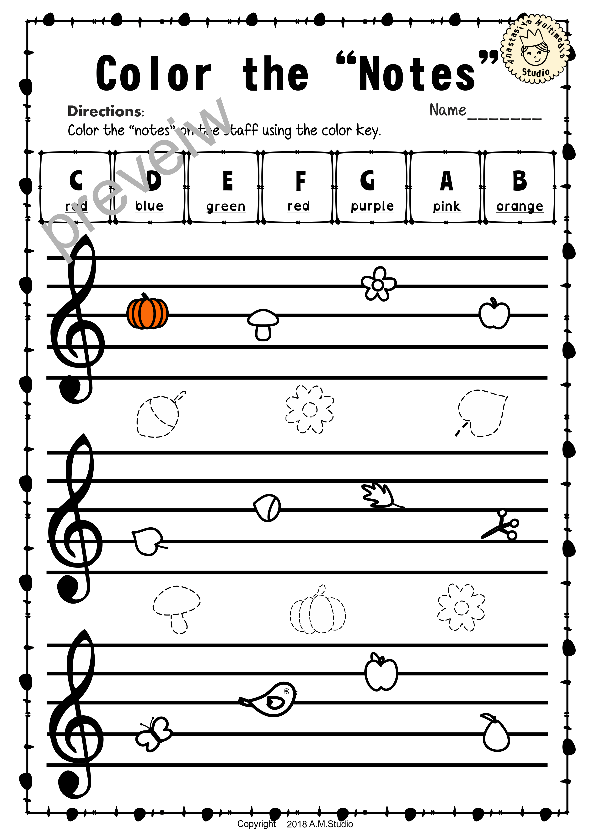 Treble Clef Note Naming Worksheets For Fall8 Anastasiya
