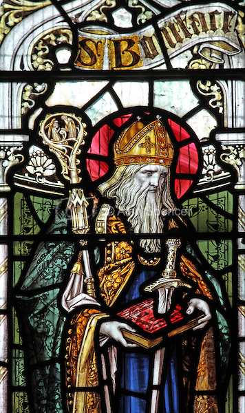 A stained glass window depicting Saint Boniface, Parish Church of St Mary, Luxborough, Somerset