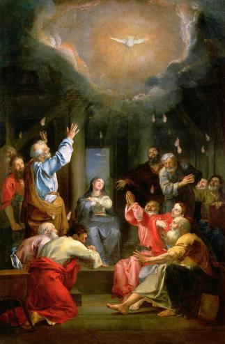 The Pentecost, oil painting by Louis Galloche (1670-1761).