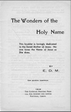 the wonders of the holy name - DEDICATION