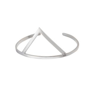 01c46b5622299 Bracelete Triângulo grande de prata com banho de ródio branco