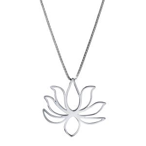 0d25a7c3193e6 Pingente Flor de Lótus vazado de prata com banho de ródio branco