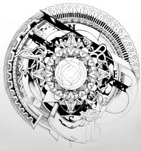 Mandala Compass, ink and pencil, 2015