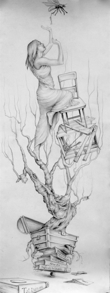 How to Ring a Bell, part 4 of 9 in a series, graphite on paper, by Jennifer Ramey