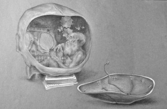 Another Common Fallacy, white and black charcoal on tinted paper, 2009, by Jennifer Ramey