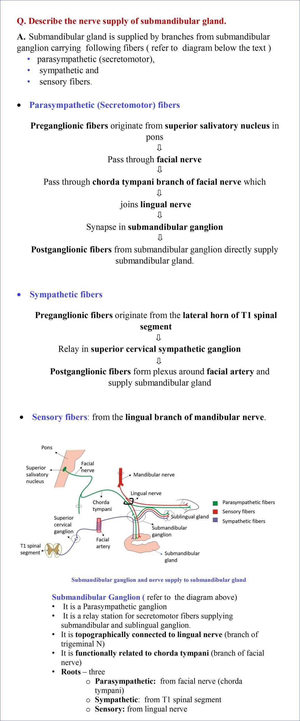 submandibular ganglion and nerve supply of submandibular gland