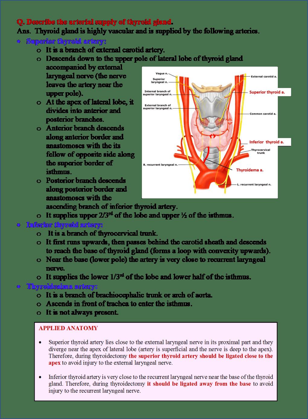 arterial supply of thyroid gland