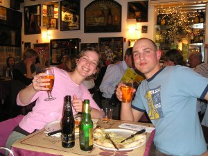 Jill and her hubby having a beer in Italy, circa 2006