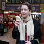 Eating an organic ice cream cone from Mapleton's Dairy in Ontario.