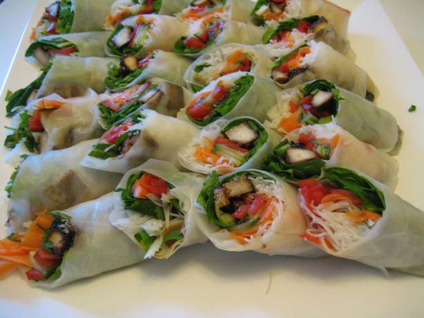 A platter of cold spring rolls