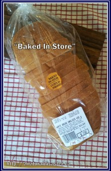 White bread baked at the grocery store