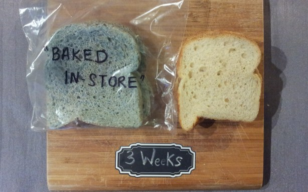 "Baked ""in-store"" bread after three weeks in a plastic bag (left) and paper bag (right)"