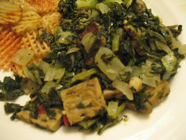 Sauteed greens with Irish (waffle-cut) fries