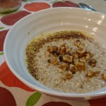 Apple cider oatmeal with walnuts