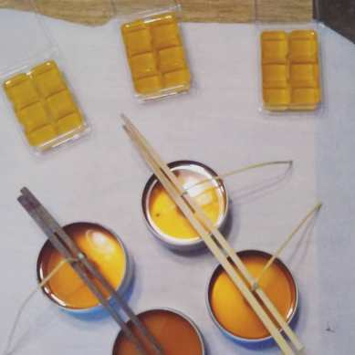 Making Candles, Beeswax candles