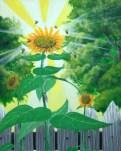 """""""Sunflowers""""; acrylic on canvas, 16"""" x 20"""""""