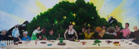 """Community-Garden-Party""; acrylic on wood, 36"" x 13"""