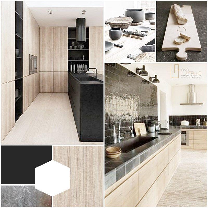 Moodboard de estilo, color y materiales para decoración de cocina por Ana Utrilla