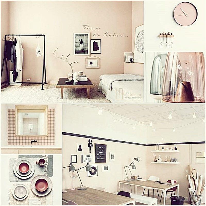 Moodboard de inspiración en proyecto de interiorismo en rosa y negro de Ana Utrilla