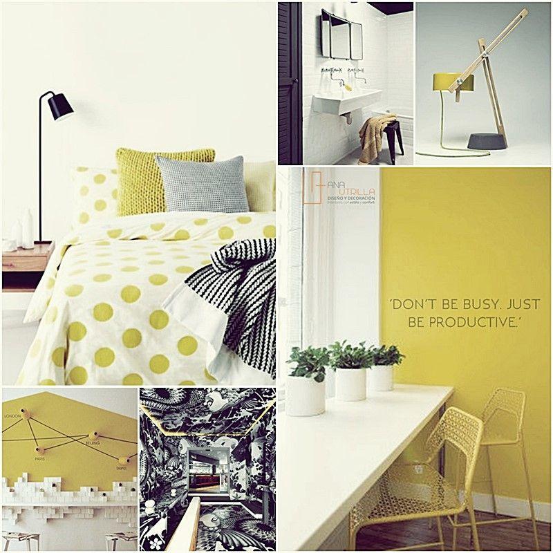 Moodboard para decoración de interiores por Ana Utrilla espacios en tonos amarillos