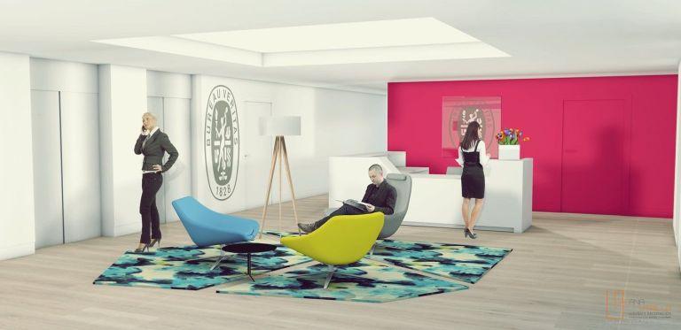 Infografía 3D o renderizado de espacio de oficina por Ana Utrilla Interiorista