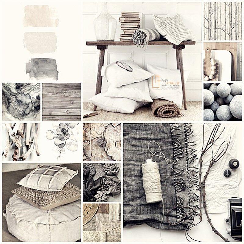 Moodboard proyecto de decoración de interiores espacios de tonos neutros por Ana Utrilla