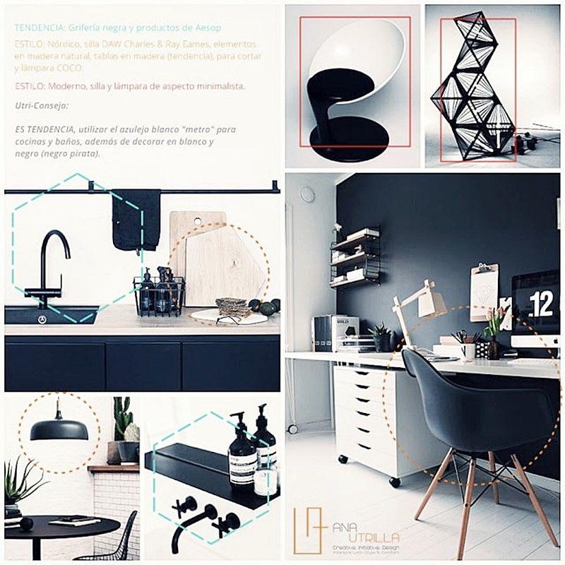Decoración de interiores con estilo nórdico y colores blanco y negro por Ana Utrilla