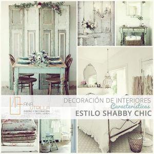 Estilo shabby chic en decoración de interiores características por Ana Utrilla Diseño de Interiores Online