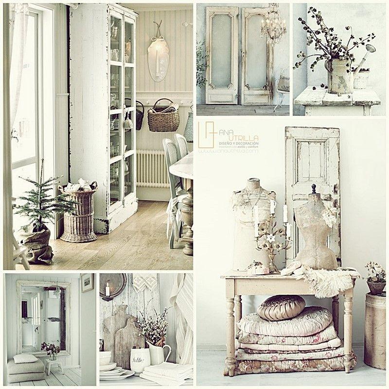 Decora con estilo shabby chic tu salón o espacio de trabajo por Ana Utrilla Diseño de Interiores Online