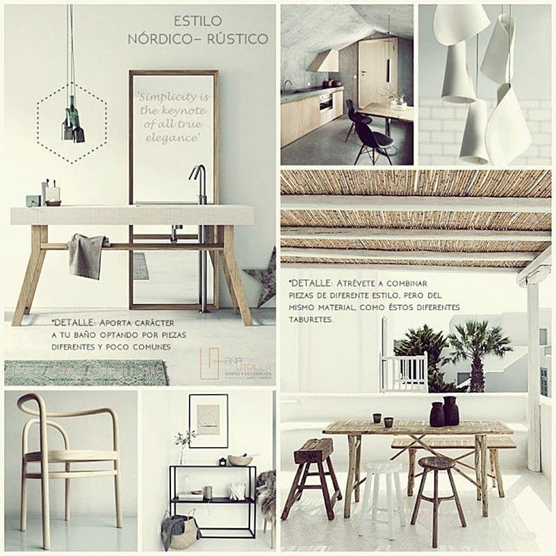 Espacios de decoración rústica nórdica y mediterránea en tonos tostados por Ana Utrilla Diseño de Interiores Online
