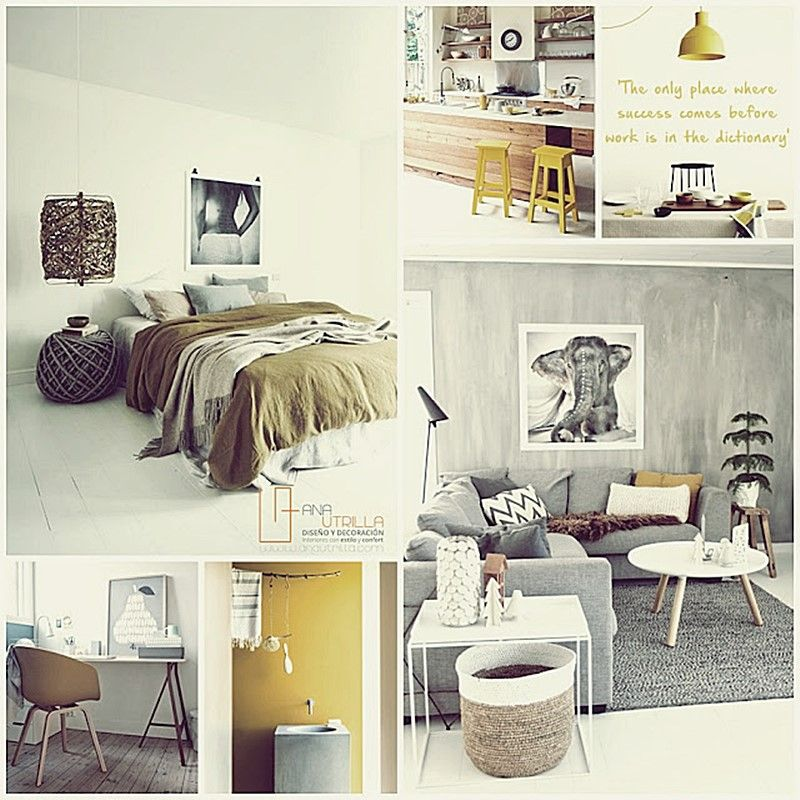 Decoración de interiores en color amarillo mostaza de estilo nórdico y rústico por Ana Utrilla Diseño de Interiores Online