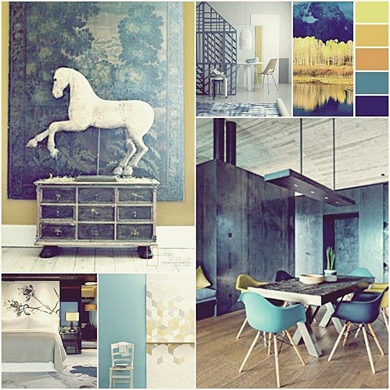Añade color en tu decoración suaves contrastes de fríos con cálidos por Ana Utrilla decoración ONline