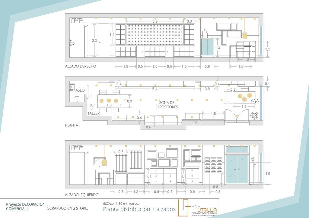 planos de tienda de scrapbooking en Valladolid por Ana Utrilla