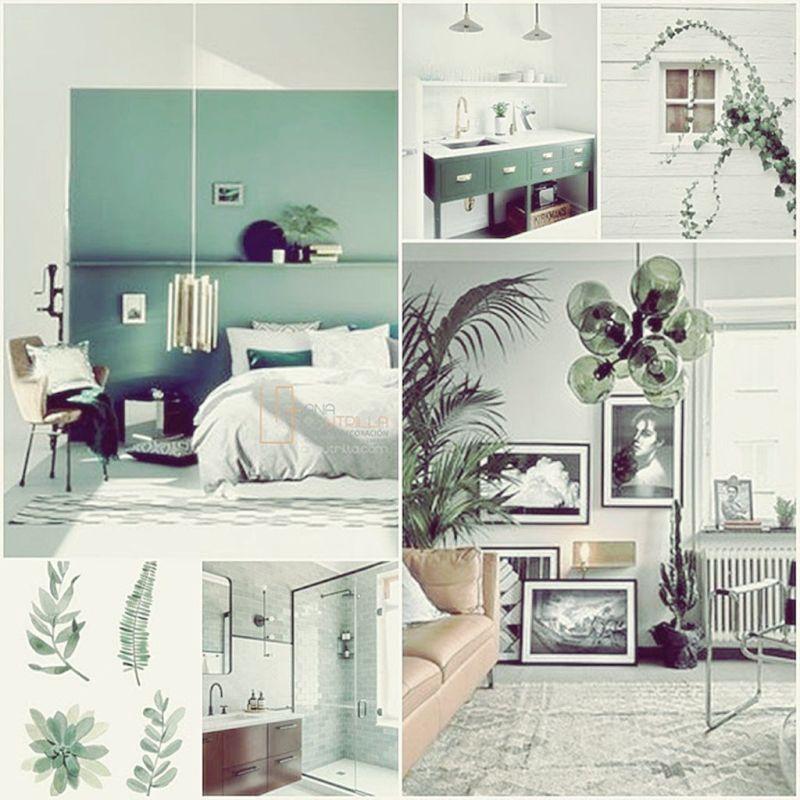 Espacios de estilo ecléctico en combinación de colores oscuros y verdes por Ana Utrilla