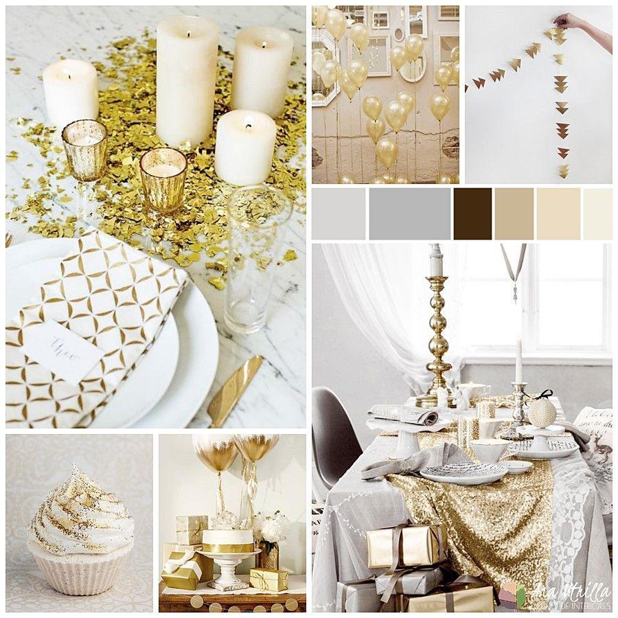 Decoración e ideas para mesas de Nochevieja o Año Nuevo, en dorados y blancos