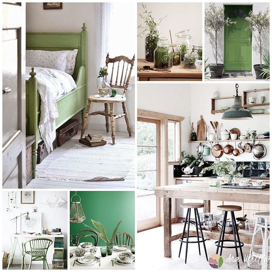 Decoración de interiores en tonos verde color pantone 2017 por Ana Utrilla
